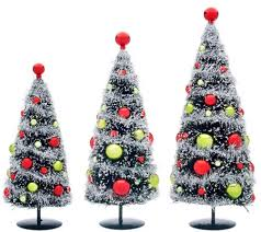 set of 3 bottlebrush trees with ornaments by valerie page 1