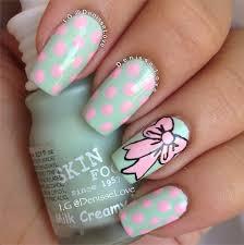polka dot bow accent nails by instagram u0027s denisa fedorčáková