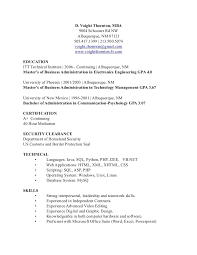 Mba Skills Resume Resume Voight Thornton Mba It Sales Marketing