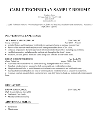 Sample Resume For Technician by Cable Technician Resume Sample Resume Samples Across All