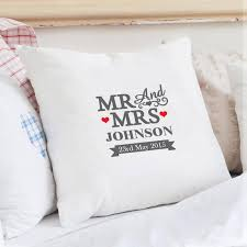mr and mrs pillow personalised mr mrs cushion cover buy from prezzybox