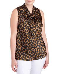 sleeveless tie neck blouse s plus size block print tie neck blouse tops tees tops