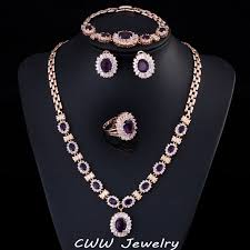 purple stone necklace set images 4 piece luxury gold plated indian wedding party jewelry sets jpg