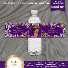 Fedex Label Template Word Printable Baby Shower Water Bottle Labels Little Princess