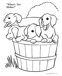 puppies on the farm coloring page