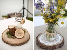 wood centerpieces if we wanted to use candles or the lace from suzy with wood