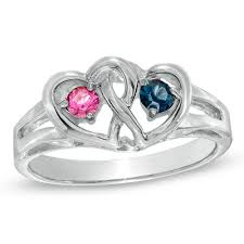 rings with birthstones i want this sterling silver interlocked hearts couples