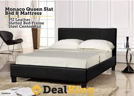 monaco pu leather queen bed black u0026 mattress 399 u2022 trade me