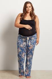 teal faded floral drawstring plus size pajama