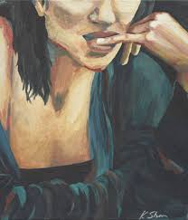 Teal Blue Home Decor Saatchi Art Large Original Painting Figurative Art Woman Female