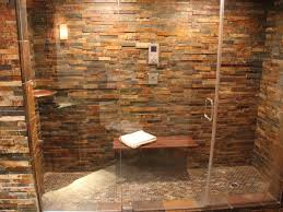 stylish stone wall with delight design and shower area for rustic