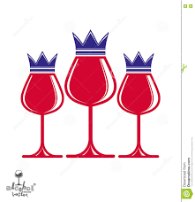 elegant luxury wineglasses with king crown graphic artistic vec