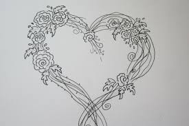 amazing easy rose drawing with a heart drawing tutorial youtube