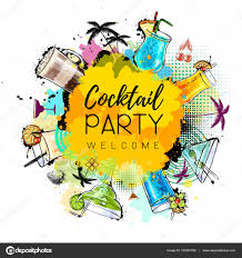 cocktail party poster design cocktail menu u2014 stock vector