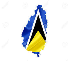 Saint Lucia Map Map Of Saint Lucia With Waving Flag Isolated On White Stock Photo
