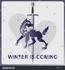 wolf sword heart winter coming elements stock vector 620080652