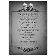 wedding shower invitation two skulls eerie grey frame halloween