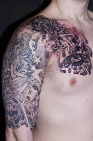 passionate gambling themed tattoo on sleeve n chest for boys