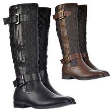 womens quilted boots uk onlineshoe s quilted knee high boots with buckle and