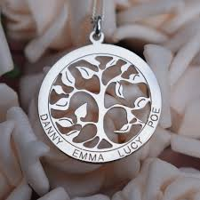 personalized family necklace sterling silver filigree tree of family necklace