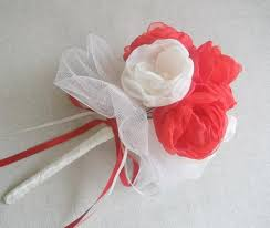 ivory and candy apple red fabric flowers bouquet bridal