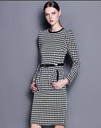 houndstooth dress white black sleeve houndstooth dress sheinside 2367102