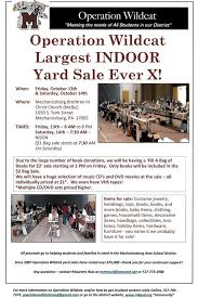 operation wildcat huge indoor yard sale october 13th and 14th