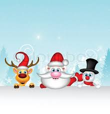 vector illustration santa claus reindeer snowman