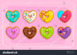 set cartoon sweet cake doughnuts heart stock vector 569473213