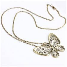 butterfly long chain necklace images 1 pc women fashion retro carved butterfly pendant long chain jpg