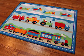 Kids Room Rug Train Airplanes Construction Trucks Area Rug Blue U0026 Red Medium