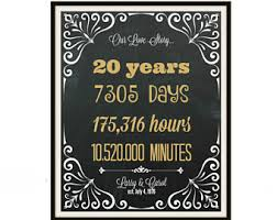 20 year wedding anniversary gifts 20 year anniversary etsy