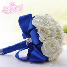 wedding flowers blue and white 2015 new bridal bouquet wedding decoration artificial bridesmaid
