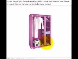 Wardrobe With Shelves by Habital Wardrobe Pink Large Canvas Effect Cloth With Shelves And