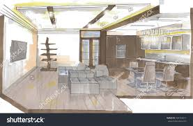 graphic sketch kitchen design markers stock illustration 436154611
