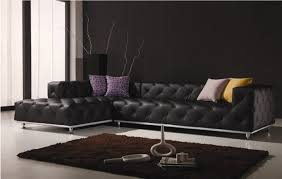 Black Leather Sectional Sofas Tufted Sectional Sofa Living Room Contemporary With Black Leather