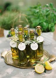 olive wedding favors mediterranean wedding inspiration favors glass bottle and herbs
