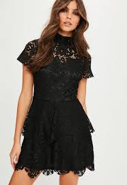 black lace dress black sleeve layer skater dress missguided