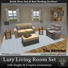 second life marketplace tan abstract lazy living room set with