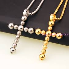 gold bead pendant necklace images New trendy unique design bead cross pendant necklace mens jpg