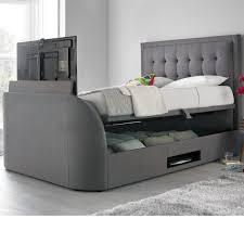 Tv Bed Frames Metro Grey Fabric Ottoman Tv Bed