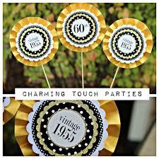 60th birthday party decor 3 piece rosette centerpiece sticks