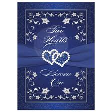 silver wedding invitations wedding invitation royal blue silver white floral joined hearts