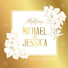 Golden Wedding Invitation Cards Golden Card With Wedding Invitation Text And Bouquet Of Hibiscus