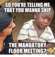 Meeting Meme - so youtre tellingme that you wanna skip the mandatory floor