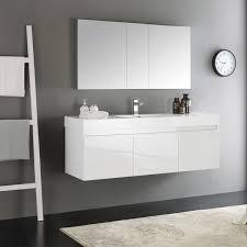 Modern Bathroom Medicine Cabinet Fresca Mezzo White 60 Inch Wall Hung Single Sink Modern Bathroom