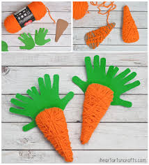 yarn wrapped handprint carrot craft for kids i heart arts n crafts