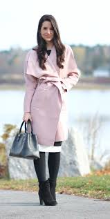 chic pink winter coat with neutral details diary of a debutante