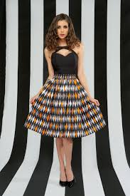 pinup couture jenny skirt in halloween harlequin print pinup