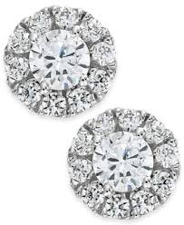 diamond earrings with price diamond halo stud earrings 14k white gold 3 4 ct t w